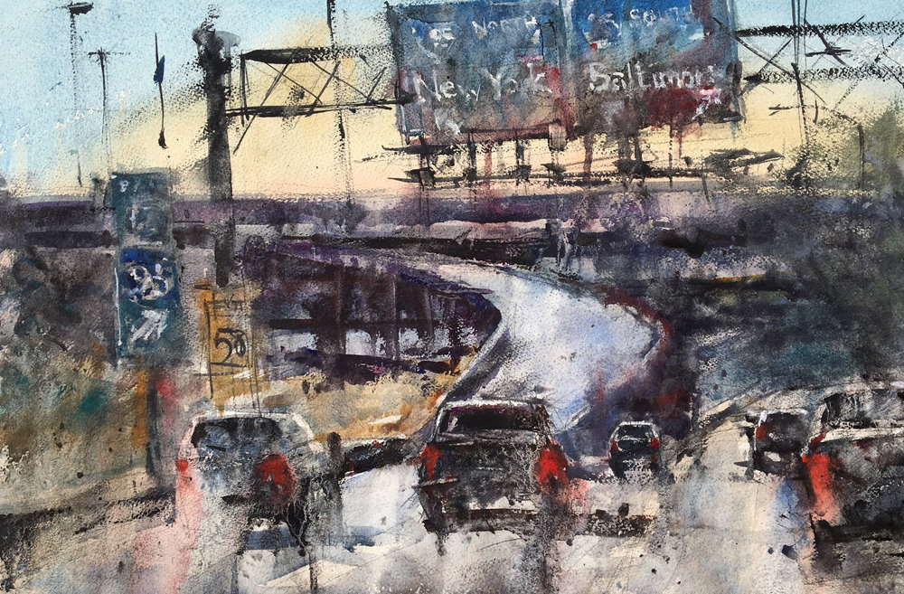 Ken Karlic,  Take the Ramp to the Left , watercolor, 14 x 21 in.