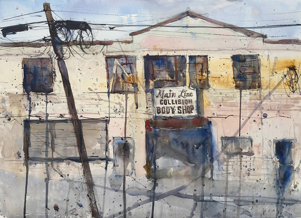 """Main Line Collision,"" by Ken Karlic, watercolor, 22 x 30 in."