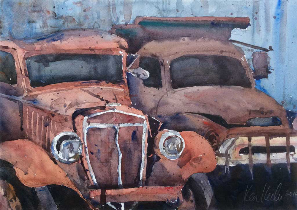 """Age and Beauty,"" by Ken Karlic, watercolor, 11 x 15 in."
