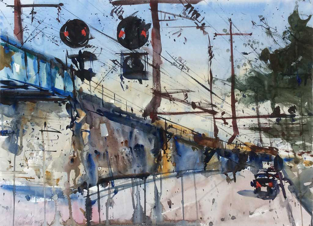 """Incoming,"" by Ken Karlic, watercolor, 22 x 30 in."
