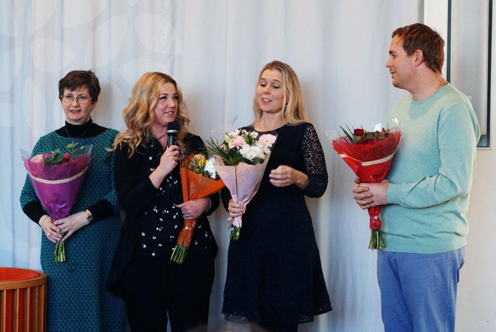 2019 års stipendiater: Kajja Holmgren, Helena Hermansson, Charlotta Granath och Rickard Albo