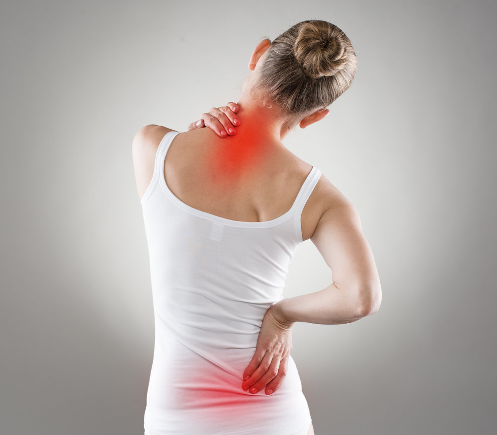 Spine osteoporosis. Spinal cord problems on woman's back