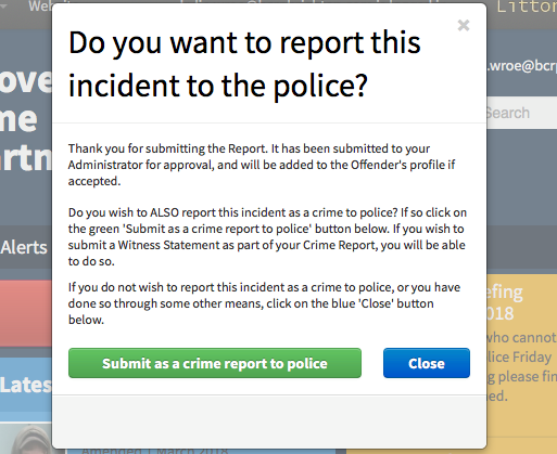 When reporting an incident on DISC to the BCRP the site will now prompt members if they also want to report directly to police.
