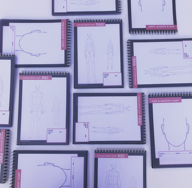 costume design template male spiral bound book class pack of 5