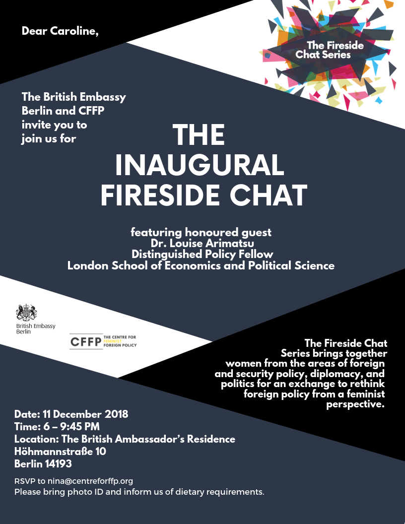 For the British Embassy in Berlin, Germany: - An invitation for an event series in collaboration with the Centre for Feminist Foreign Policy