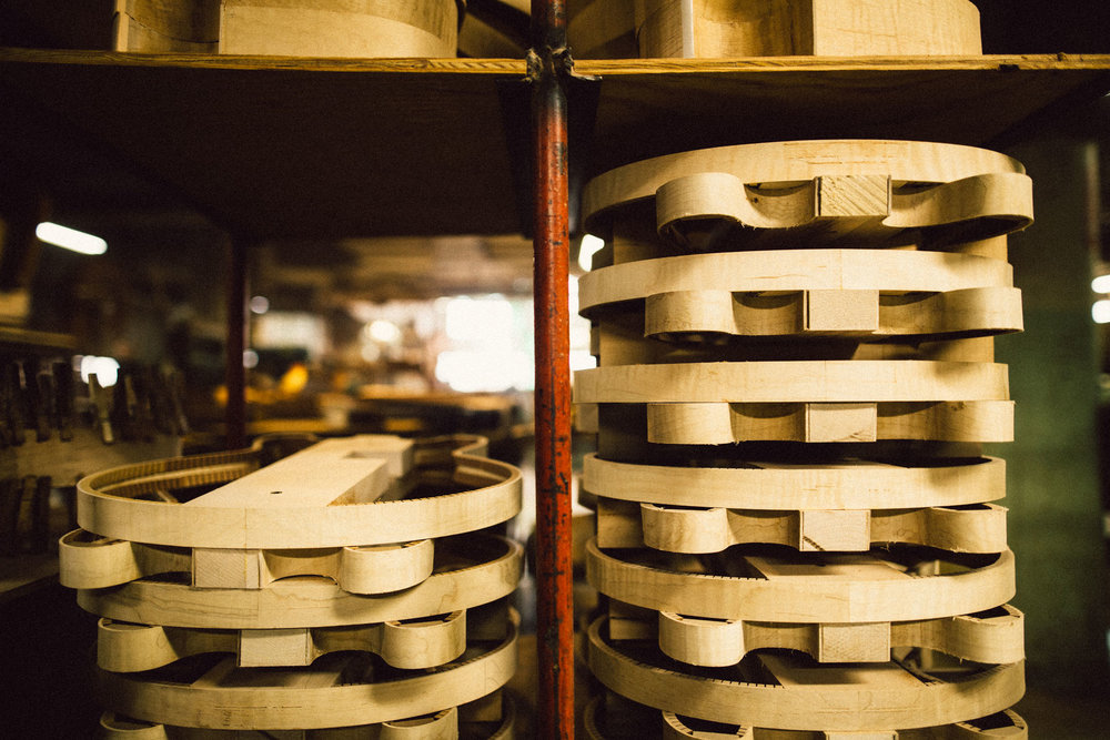 Semi-hollow body rim sets awaiting their tops and backs.