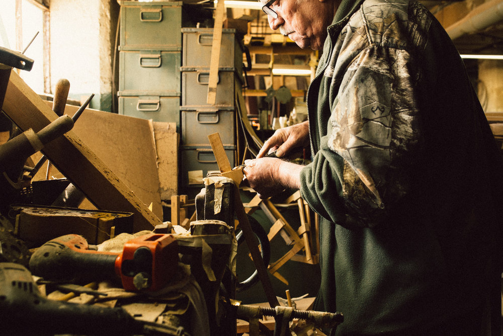 Co-founder Marv Lamb works at his bench.