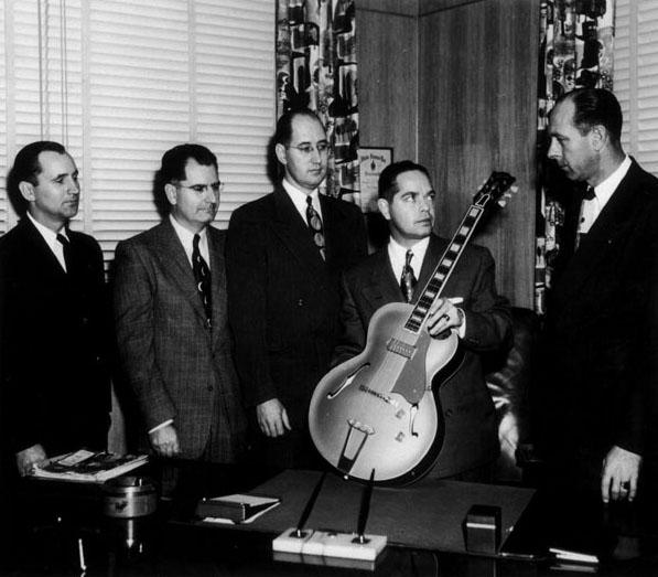 """Walter Fuller, Julius Bellson, Wilbur Marker, Theodore """"Ted"""" McCarty, John Huis - ca. 1940"""