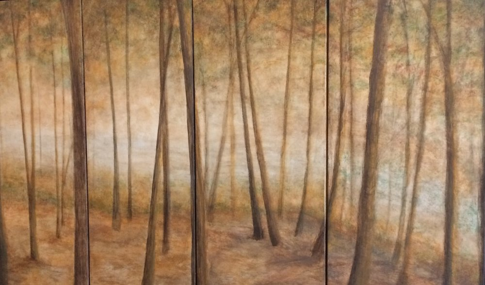 Through The Trees  by Sven Johnson and Susan Skrzycki  acrylic on folding panels