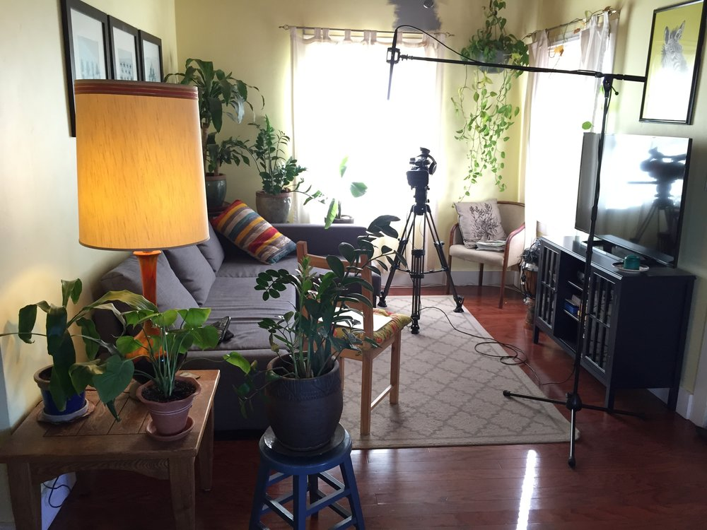 Our budget may have been laughable and we may not have had a formal studio, but the living room in Juan's house worked as a default for many interviews. It became a hub for filming interviews about social justice and immigrants rights work in Phoenix.