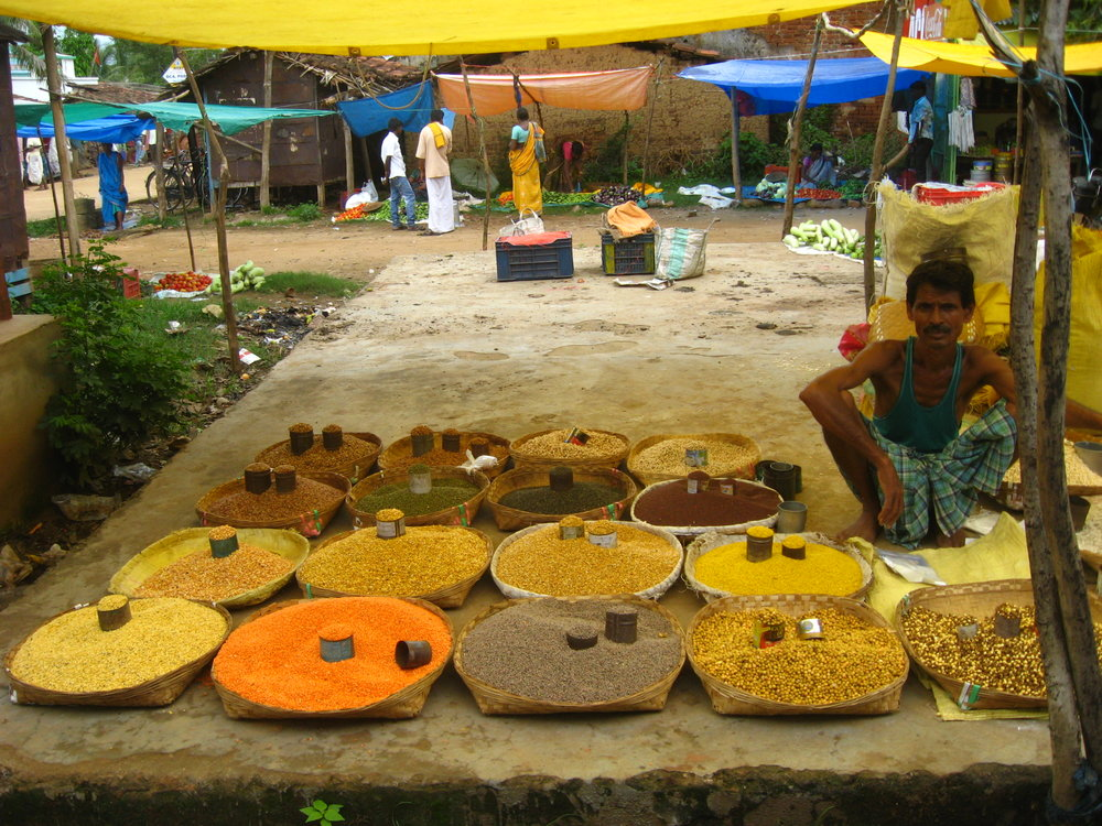 Weekly market in haatmuniguda, 20 minutes by bus from muniguda town, plains traders sell household goods, cattle, clothes, vegetables, spices, jewelry, salt and agricultural inputs.  © Madhuri Karak july 2013