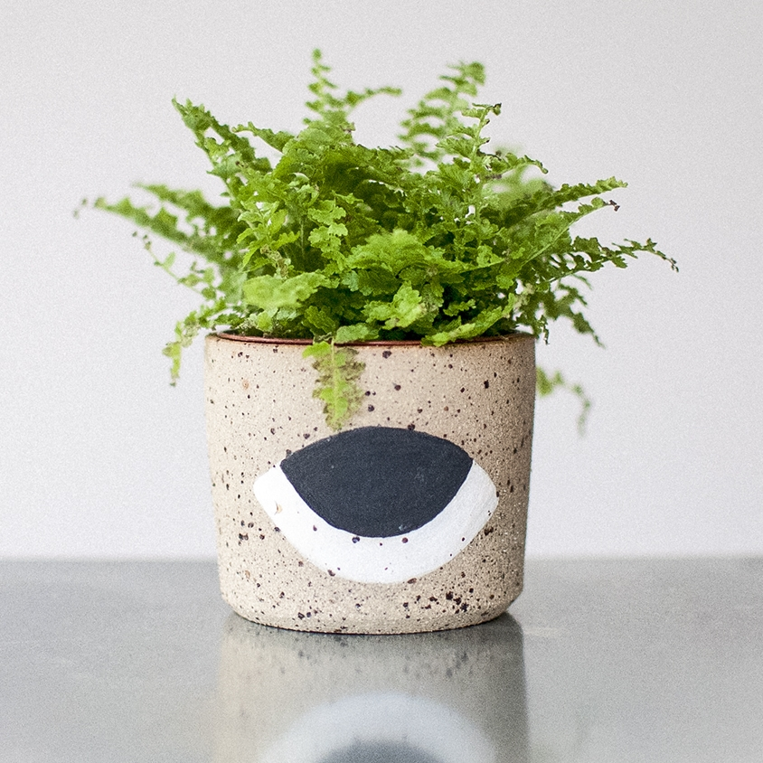 PLANTERS   Individually hand thrown using texturised stoneware. Finished with white gloss glaze on the inside.  Waterproof & dishwasher-proof  Approx dimensions  Ø: 7 - 10cm  H: 5 - 7cm