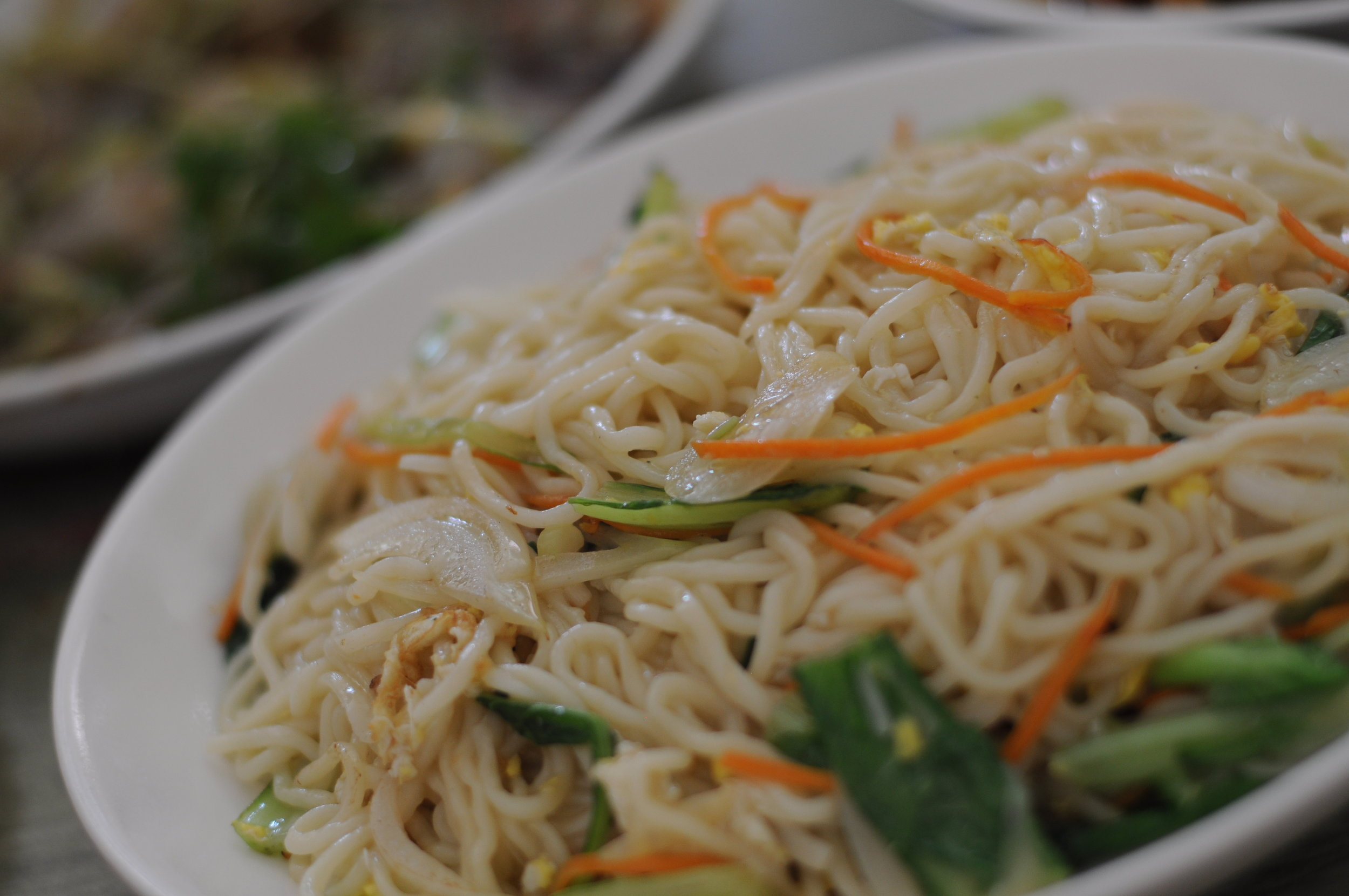 Fried noodles with eggs--a simple dish anyone can appreciate.