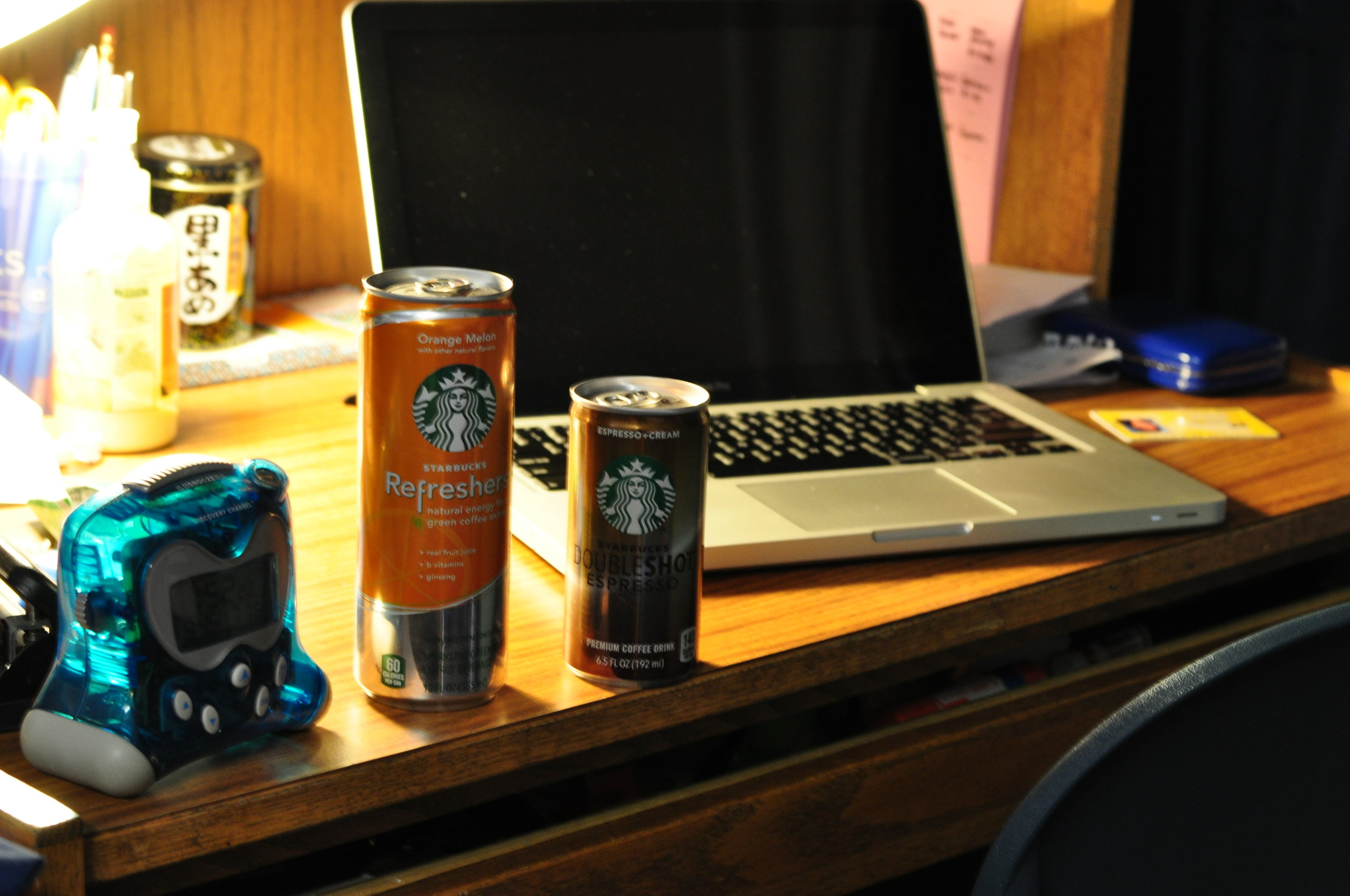 The crunch of finals--two turbo loaded Starbuck's drinks.