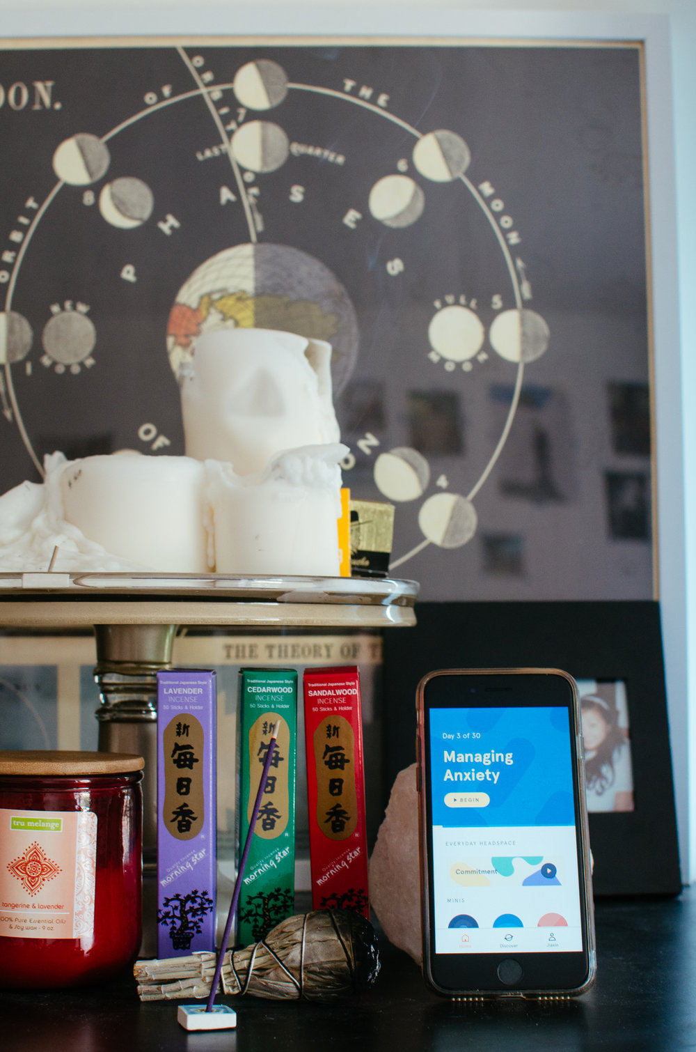 Jiaxin's Meditation Corner: Incense, candles, sage, and the Headspace app open