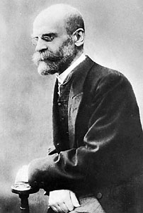 Emile Durkheim - French philosopher and sociologist, 1858-1917. Durkheim is considered the first modern sociologist, using statistical material and sharp intellect to study such topics as suicide and religion.