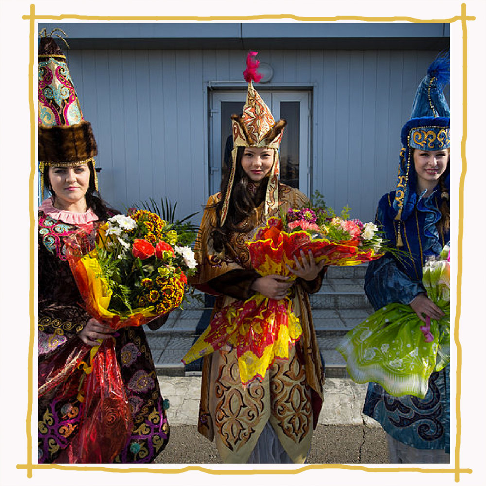 Kazakhstani women in traditional dress  Image:  Nasa