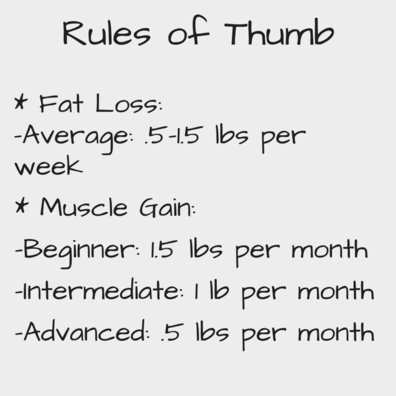 Fat Loss and Muscle Gain Rules of Thumb