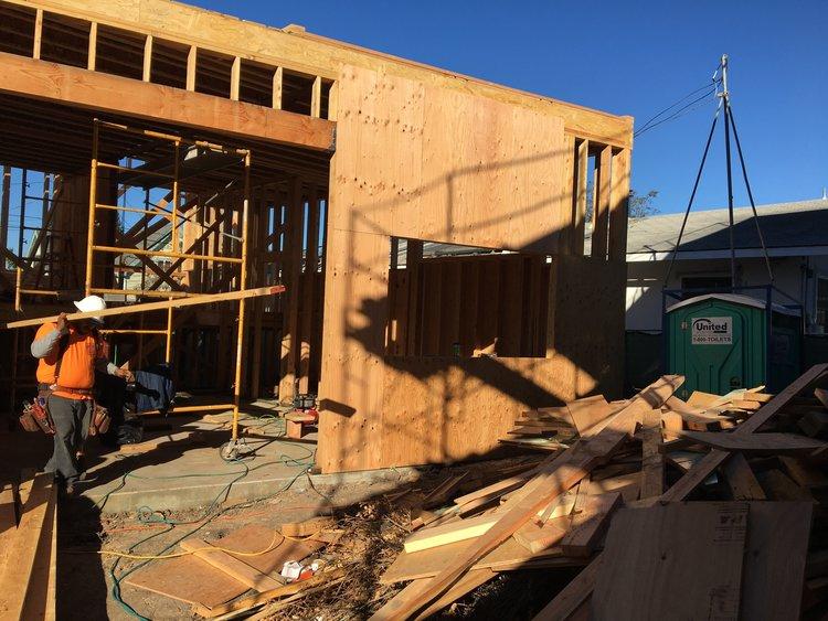 Shear walls and framing progress at Raymond Street in North Oakland ...