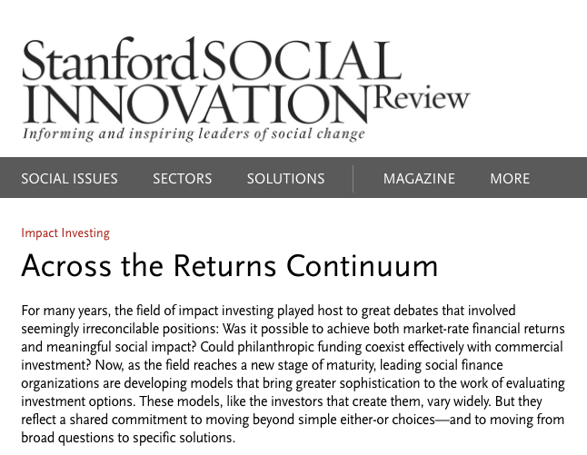 SSIR: Across the Returns Continuum