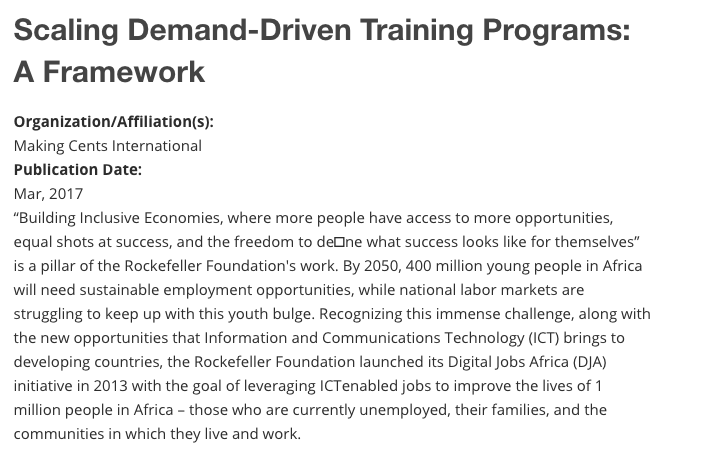 Scaling Demand-Driven Training Programs Framework