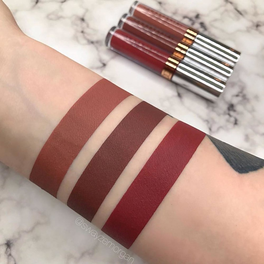 Swatches of Liquid Lipsticks are shown here. From right to left: the red is Dazed, the middle is Bittersweet, and the last one is Hudson.
