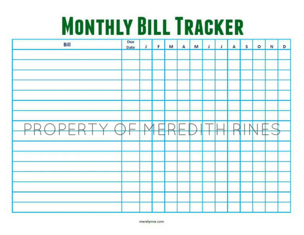 monthly bill tracker printable meredith rines cfp budget