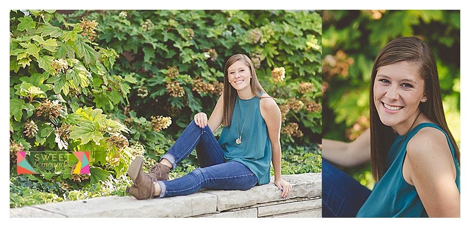 Casual senior portraits with greenery