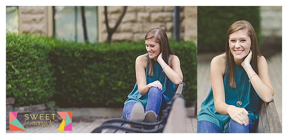 casual senior pics on park bench