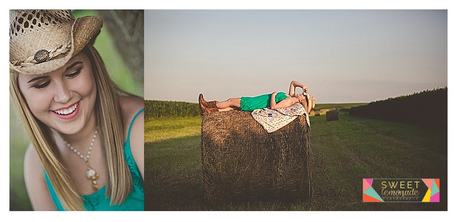 Senior in green dress and country cowboy boots hay bale