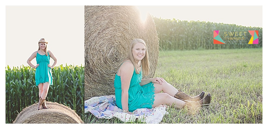 Senior girl green dress and country cowboy boots hay bale