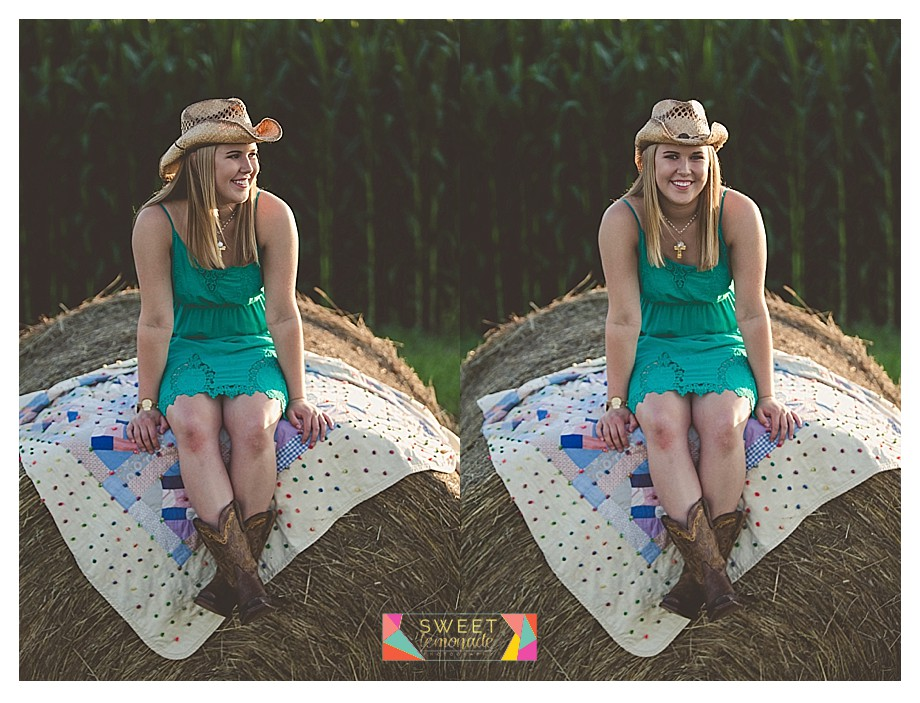 Senior girl photographed in green dress and country cowboy boots