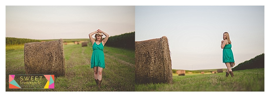 Senior in green dress country cowboy boots hay bale