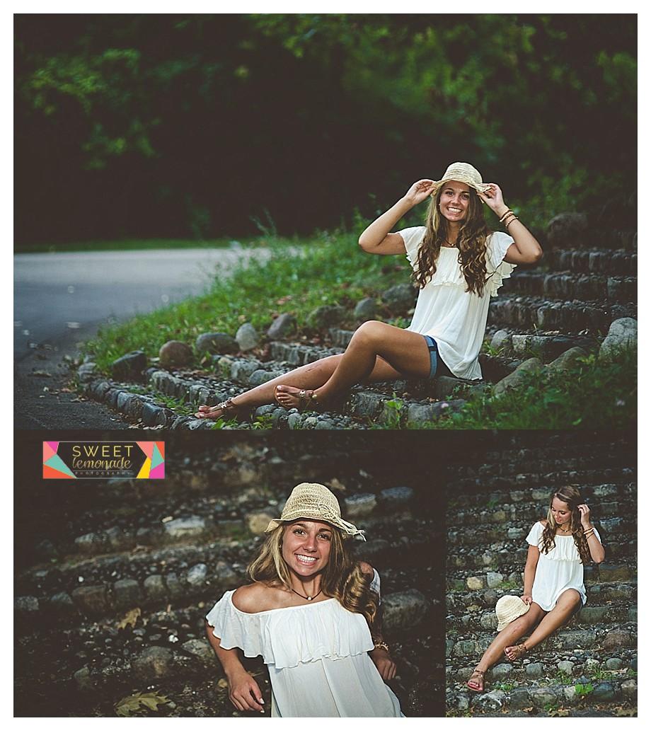 senior girl wearing straw baseball hat