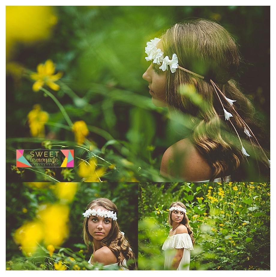senior girl yellow sunflowers, black eyed susan, daisies, flowers