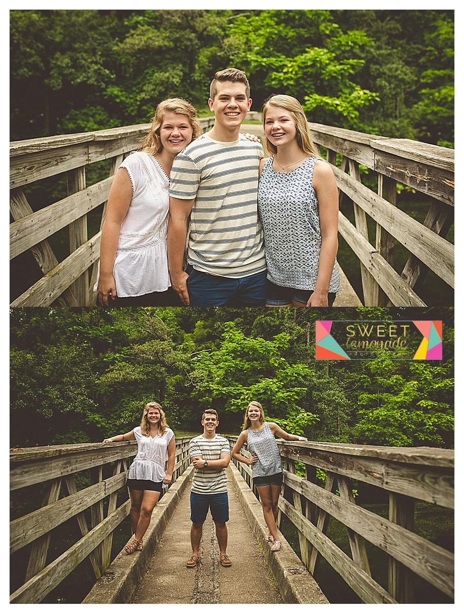 sibling pics on wooden bridge