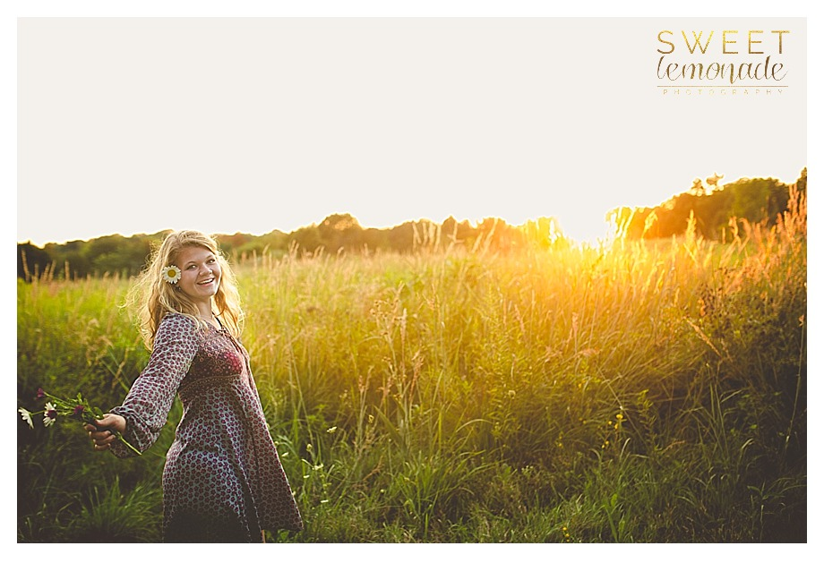 senior girl in francesca dress at sunset