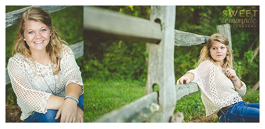 senior girl picture in francesca cream crochet top in nature