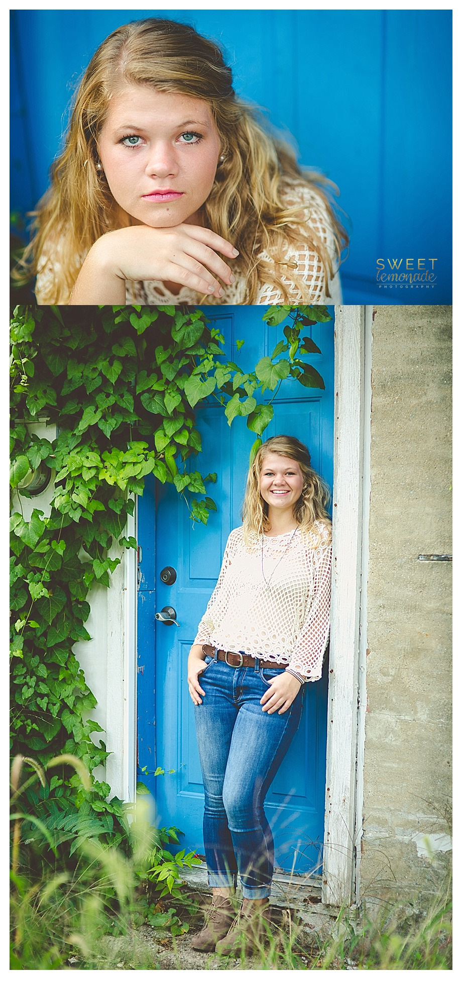 senior girl picture in francesca cream crochet top by blue door