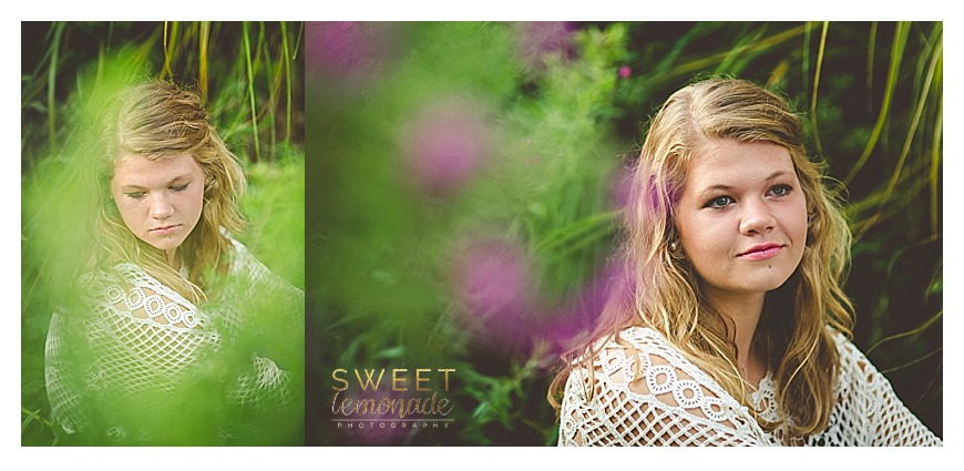 senior girl picture in francesca cream crochet top by purple flowers