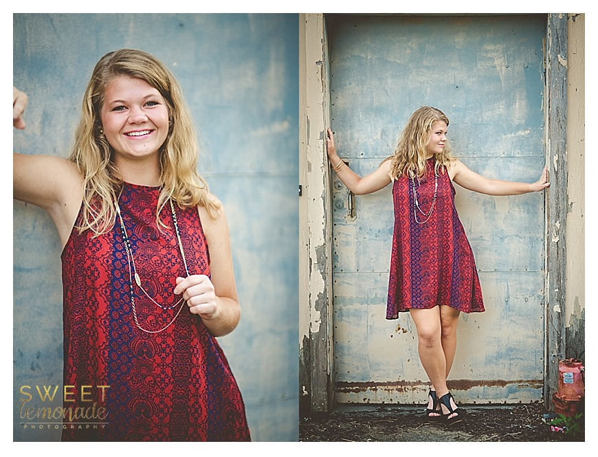 senior girl picture in francesca's dress downtown urban setting