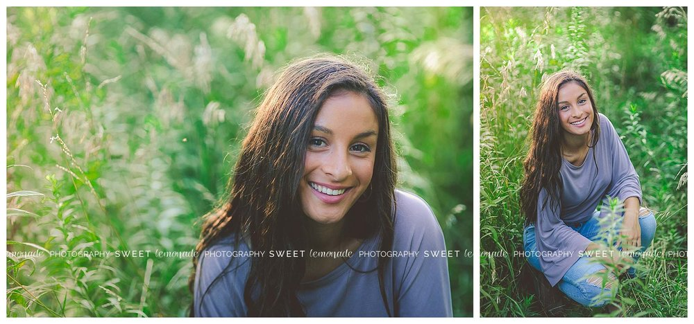 Senior picture girl purple top country nature