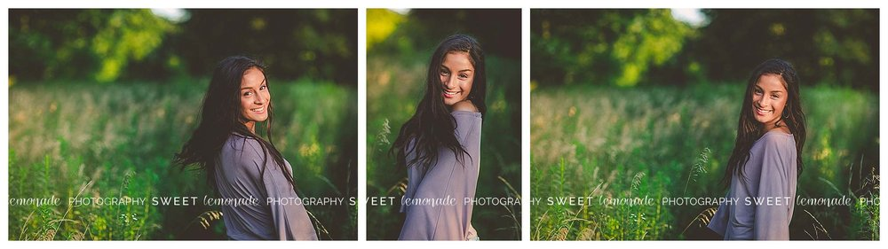 Senior picture girl purple casual country nature
