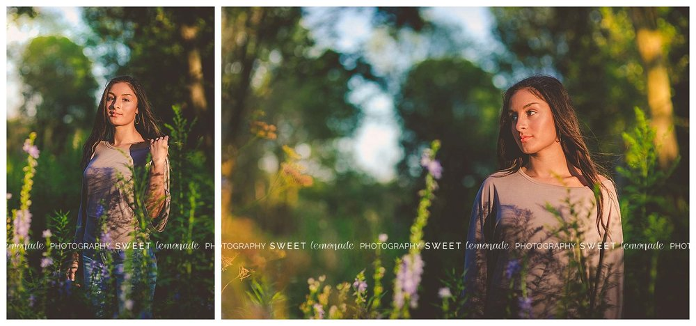 Senior picture girl purple top candid country nature