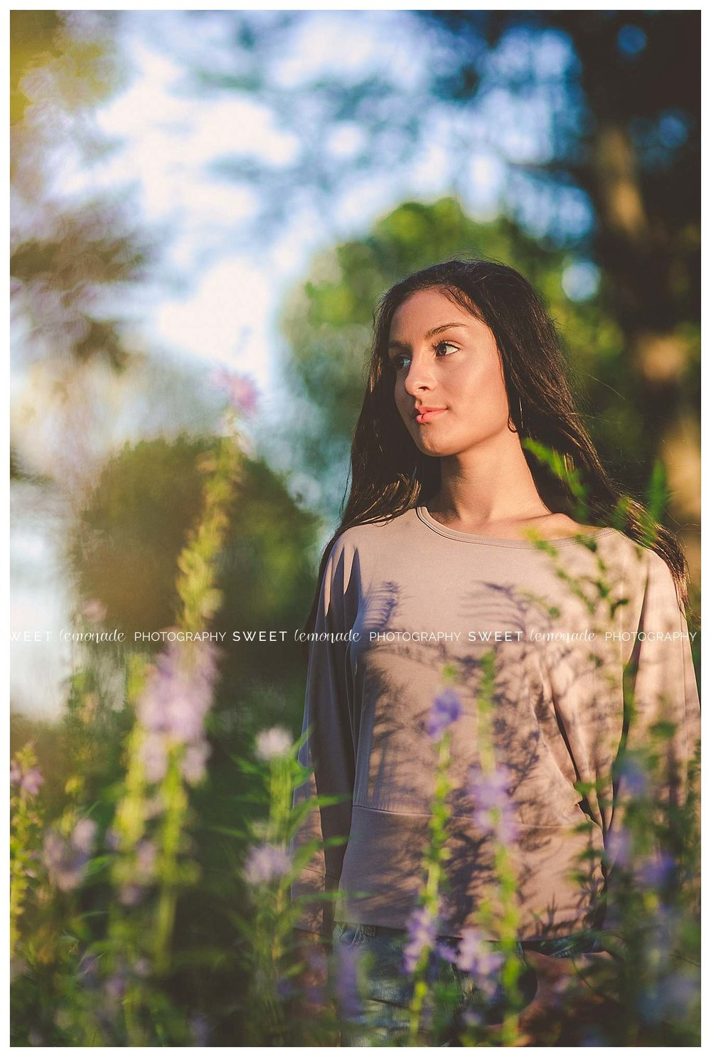Senior picture girl purple top country nature golden hour
