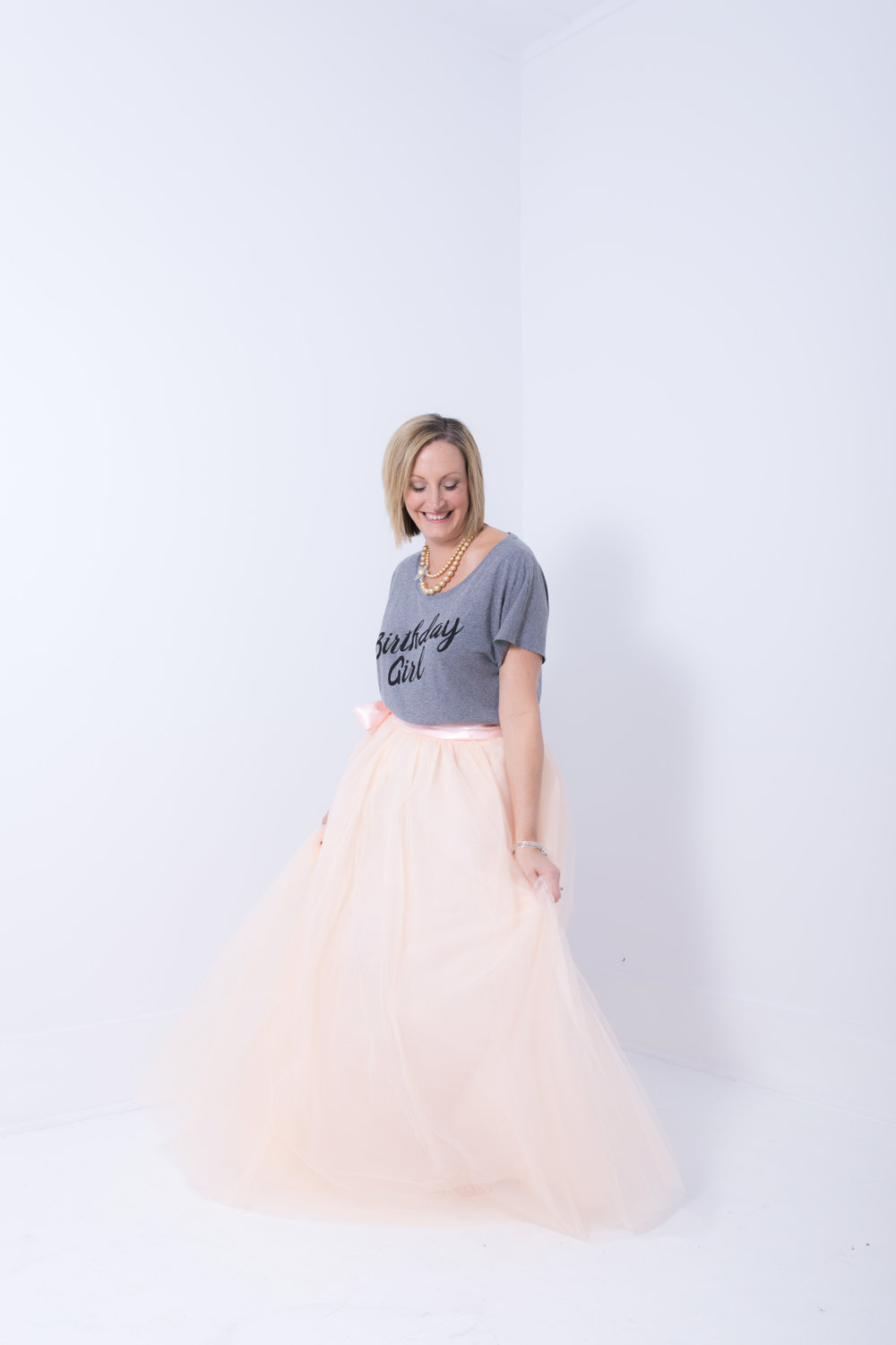 Celebrating 40! - Wine, cake, tulle skirt, birthday girl t-shirt... and the best of friends that surprised Jocelyn with it all!