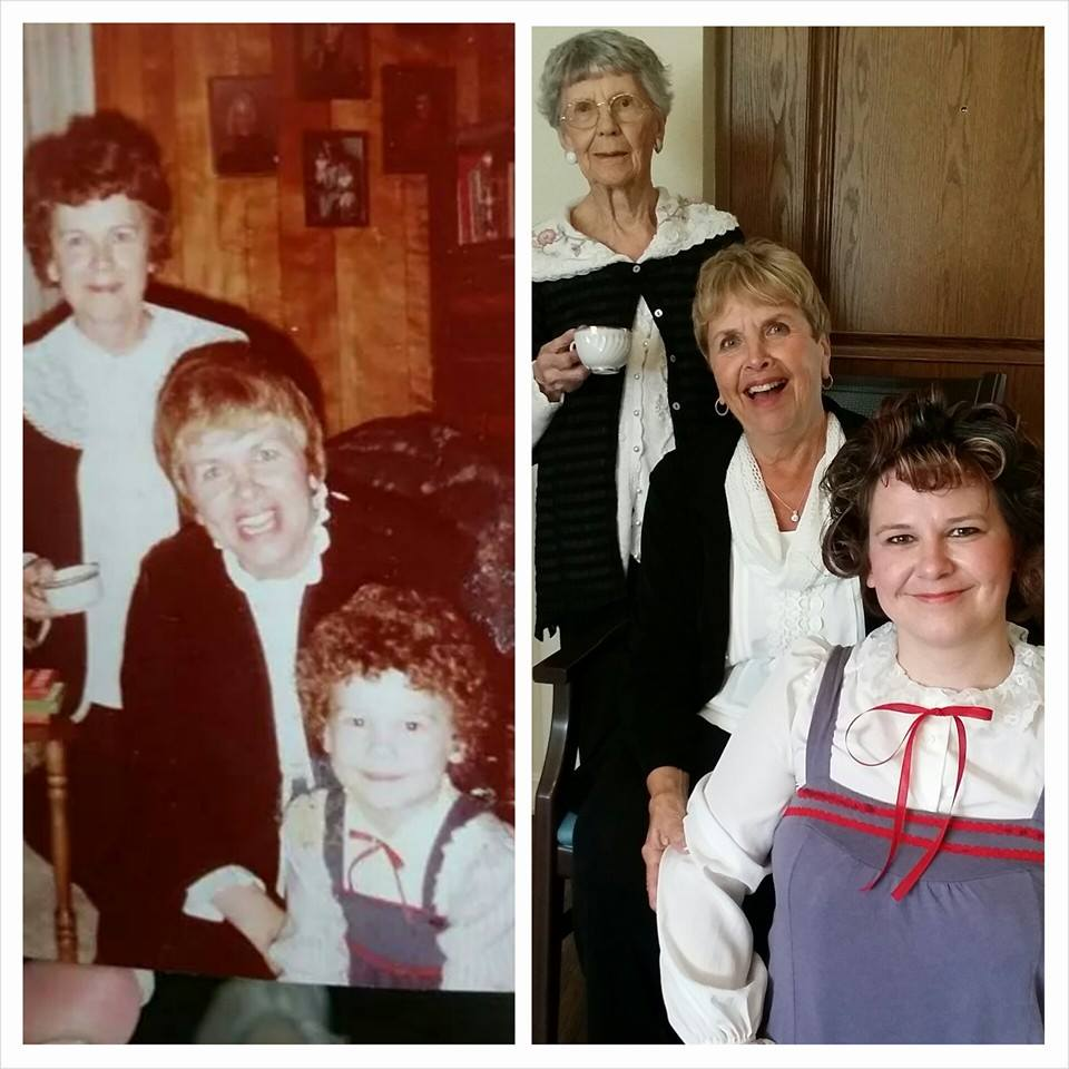 The comparison. Dec. 1981 to Jan. 2015. And seriously.... my mom doesn't look like she's aged one bit!