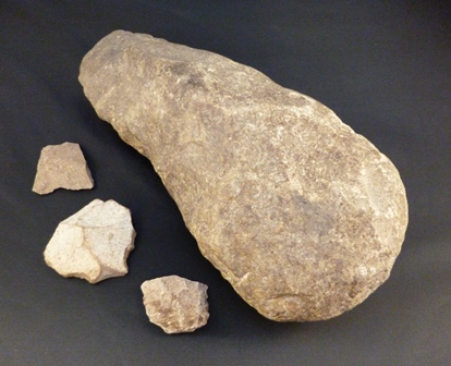 Early-stage stone axe making. -