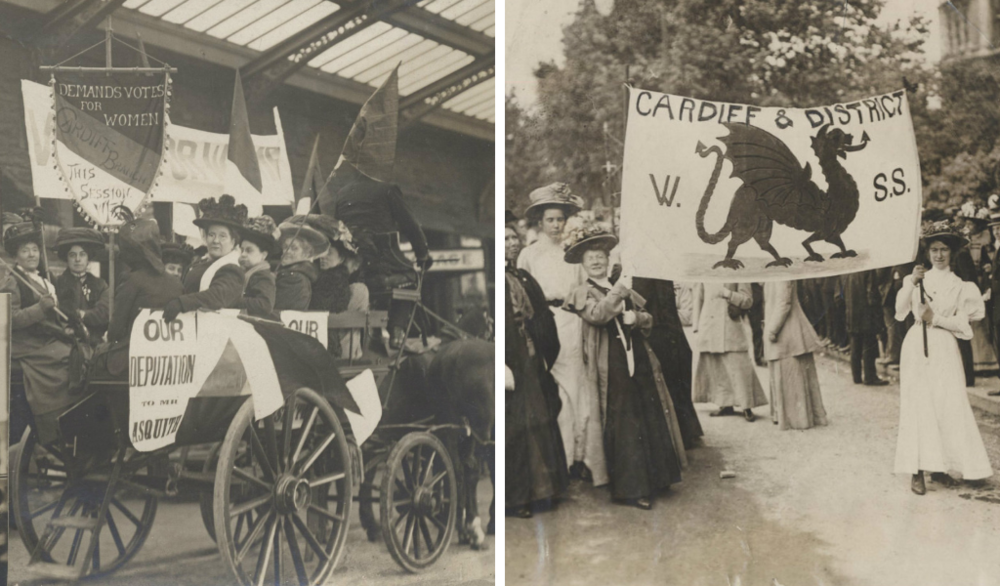 Women's Freedom League, Cardiff branch; Suffragette Grand March, London 1918