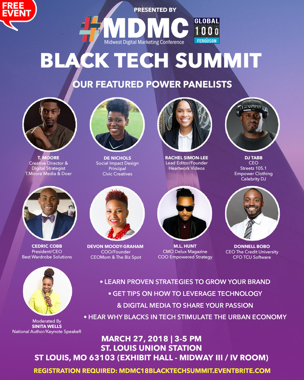 MDMC Hosts:     Black Tech Summit      Presented by: Ferguson1000 - If you are not registered for MDMC and attending the summit please be sure to stop by registration to check in. Upon your check in you will be directed to our room Midway III/IV, located in the Exhibitor Hallhttp://mdmc18blacktechsummit.eventbrite.com/